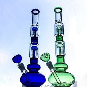 16 Inch Double 4 Arms Trees Perc Oil Dab Rigs Big Heady Glass Bong Beaker Bongs With Ice Pinc Water Pipe With Bowl