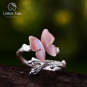Lotus Fun réel 925 Bague en argent d'origine naturelle Designer Fine Jewelry mignon papillon sur branche ouverte Bagues de femmes