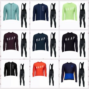 Men MAAP Team Long Sleeve Cycling Jersey (Bib) BLACK Trousers Sets Breathable Mountain Bike Bicycle Clothing C61308