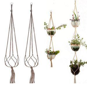 Garten Kreative Flowerpot Net Taschen, handgewebt Baumwolle Leinen Seil Korb Tasche Fleischbetrieb Lanyard Hanger