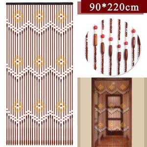 Main En bois Stores 90x220 cm 31 Ligne En Bois Perle rideaux Fly écran porte diviseur Sheer Rideaux couloir salon Porte Y200421