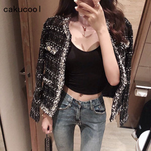 New Slim Plaids Jacket Women Autumn Spring Short Outerwear Shiny lurex Elegant Chic Vintage Outwear Coat Women Clothing