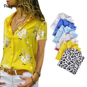 Pickyourlook Bluzlar Gömlek Kadınlar Kısa Kollu Yaz Çiçek Leopar Baskılı Düğme Moda Artı boyutu Lady Bluzlar Kadın Tops