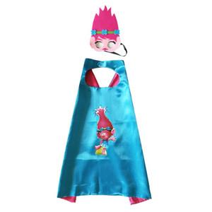 Superhero cape conjunto máscara para miúdos dos desenhos animados do super-herói Trolls ramificação ou Trolls papoila trajes masquerade aniversário do Natal partido presentes presentes