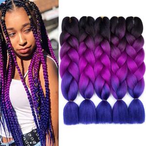 Jumbo Box Trenzas 5pcs / porción 24inch Tres colores de tono rosa púrpura Azul Rubia Jumbo sintético Trenzas Ombre del trenzado de cabello Extensiones mujeres blancas