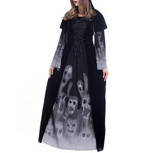 Хэллоуин Нового скелет Printed Witch Длинного Vampire платье Этап Ролевой игра Платье партия Платье для даст Хэллоуин одежды