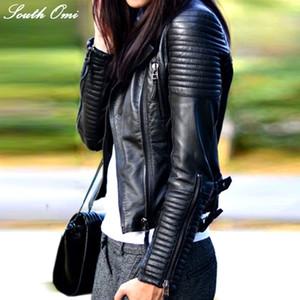 Pelle Moda Autunno Inverno Donna Marca Faux morbido Jackets Pu Blazer nero Cerniere del cappotto del motociclo della tuta sportiva RivetMX190921