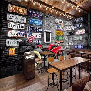 Europa America Nostalgico Retro Brick Plates Moto Pneumatico Grande Murale Carta Da Parati per Pareti 3d Camera Da Letto Soggiorno TV Wall Papers Home Decor