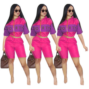 Women tracksuit Letters Print 2 Two Piece woman Set clothes womens Fitness Tracksuits Sexy Crop Top And Pants Outfits