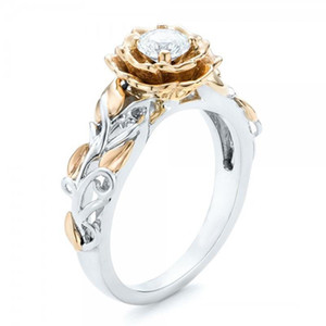 Crystal Flower Rose Cubic Zirconia Ring Wedding Rings Fashion Jewelry for Women Gift