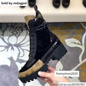 Дизайнер Женщины Лауреата платформа Desert Boots Тройной черные женщины толстого дно Кожи Мартин полусапожки туфля с коробкой