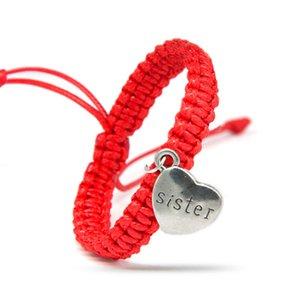 الكلمات لطيف دقيق أسود أبيض أحمر سحر أساور للالأخ الأخت مع فضي قلب سلسلة حبل ضبط الحجم مجوهرات هدايا