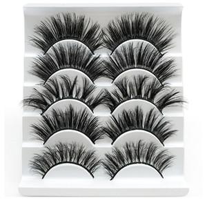 Fibra química 3D cílios postiços 5 pares preto grosso Handmade pestanas falsas pestana Extensão Ferramenta Eye Makeup Ferramenta grátis Z0402