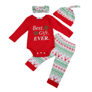 2019 menina do menino New Primavera Outono AU My 1st Christmas Baby Newborn Xmas Roupa Vermelha Romper + calças roupa Set