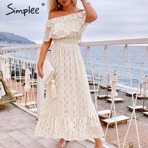 Simplee Sexy off shoulder long maxi dress Elegant vintage dot white party dress Spring summer holiday style dresses vestido 2020 MX200518