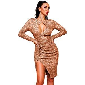 Rosa de lujo vestido de lentejuelas de oro mujer de manga larga Hollow partido ajustado de celebridad fuera de Split Vestido tubo club elegante atractivo de los vestidos T200521