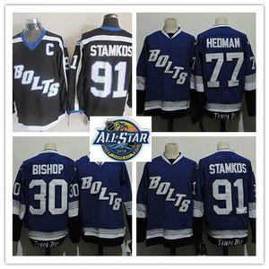 Para hombre cosido Rayo Steven Stamkos Jersey 30 Ben Bishop 77 Victor Hedman azul BOLTS alternativo Rayo Jersey M-2XL