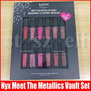 NYX Встретить Metallics Убежища губной помады 12pcs Set Matte Mat Новый Shade для губ Крем Блеск Decouvrez ле Coffret metalics