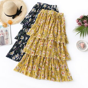 2019 Womens Summer Long Skirts Ruffle Chiffon Cake Skirt High Street Beach Style Floral Print Pleated A-line Skirts Female