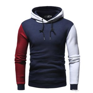 new Fashion Design Men's Two-color Stitching Hoodies Autumn and Winter New Solid Color Sweater Fashion Hooded Sweater coats