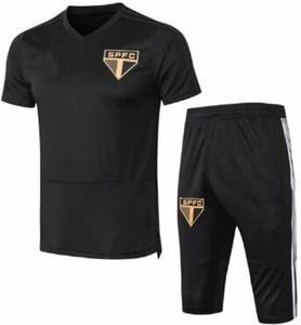 Survêtement Maillot de tuta allenamento calcio Bresil tuta manica corta Sao Paulo allenamento 2019 20 pantaloncini jersey pantalone 3/4 pantaloni