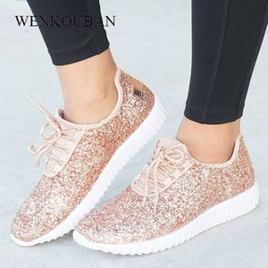 Women Sneakers Bling Ladies Shoes Summer Glitter Tainers Women White Sneakers Sparkly Casual Shoes Basket femme Zapatos Mujer MX200425
