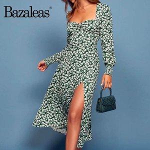 Bazaleas Frankreich Grün Daisy Print vestido Weinlese aufgeteiltes Kleid Fashion Langarm Frauen midi beiläufige drop Kleid