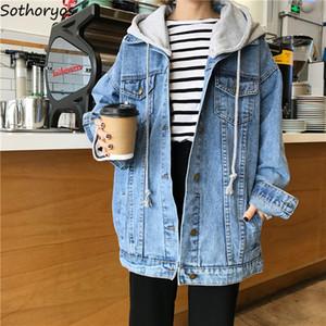 Chaquetas Mujeres con capucha Otoño Single Breasted Simple All-match Estilo coreano Harajuku Abrigos Womens Trendy Ulzzang Loose Students