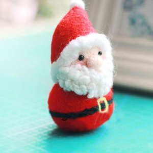 Christmas Handmade Felting Santa Claus Dolls Ornaments Wool Felting Craft Christmas Favor Decorations For New Year Gif