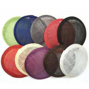 Mode-Rund Sinamay Fascinator Millinery Basis DIY Fertigkeit Hut Herstellungsmaterial Beanie Schädel Zubehör Pure Color