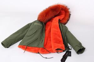 Женские мини-шубы Classic Green Jacket с капюшоном, воротником из 100% енота с мехом и съемным бархатным вкладышем maomaokong / jazzevar