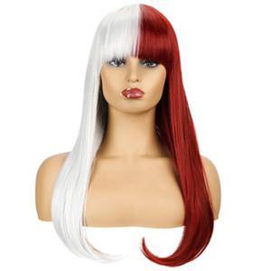 Мода Парик Специальный Смешанный Цвет Женщина Длинные Прямые Волосы Химического Волокна Высокотемпературный Шелковый Парик Набор