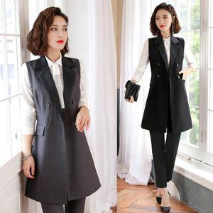 Fashion Women Waistcoat Long Outerwear Jacket Black 2 Piece Pant and Vest Sets Office Ladies Business Suits