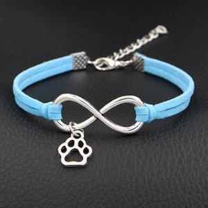 Nuovo 2019 metallo punk donna uomo avvolgere in pelle scamosciata blu gioielli accessori per infinito amore carino mini cane zampa stampe braccialetto braccialetti regalo