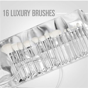 Silver Tube Brush 16pcs set Makeup Brushes Jenner Silver Tube Brush 16pcs set with bag Makeup Brushes