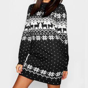 L'autunno e l'inverno vestito delle nuove donne di modo di Natale Elk Stampa gonna corta girocollo a manica lunga comodo allentato Sweater Knit Skirt