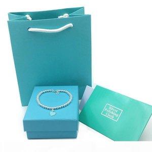 Women Luxury Bracelets 925 Sterling Silver Blue Enamel Heart Pendant Buddha Bracelet Women's Ornament Wedding Jewelry Gift bag boxes