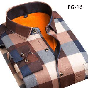 Aoliwen hiver chemise chaud, plus mode épaississement de velours imprimer chemise à carreaux robe de marque hommes manches longues SIZEL-5XL