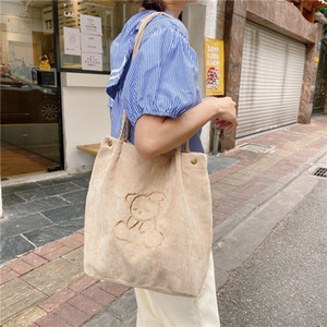 Canvas Large Capacity Tote Bag Fashion New Female Shoulder Bags bear Pattern Shopping Travel Shopper Bags tote shopper bag