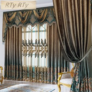 European and American StyleEmbroidery jacquard Curtain for the  living room bedroom  French Window luxury Villa Window Curtains