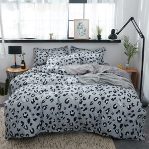 Gri Leopar Baskılı Yatak Örtüsü Seti Nevresim Yetişkin Çocuk Çarşaf Ve Yastık kılıfı Yorgan Prenses Yatak Seti
