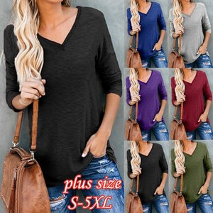 2020 Long-Sleeved Loose and Plus-sized T-shirt Solid Color and V-neck Comfortable Fashion Simple Casual Women's T-shirt S-5XL