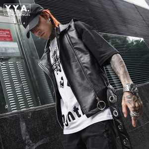 봄 여름 패션 남성 Pu 가죽 민소매 재킷 조정 양복 조끼 펑크 스타일 가짜 가죽 Motorycle 바이커 남자 조끼