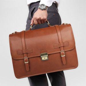 Maheu cuero genuino maletín masculino maletín de cuero portátil bolso marrón bolsa de negocio hombres para cuadernos awjqw