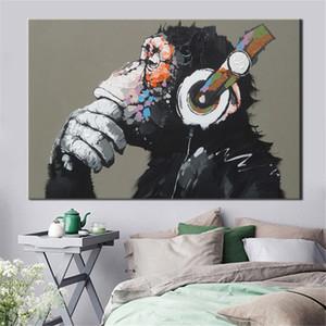 Büyük Hayvan Resim Tuval Baskılı Salon Dekor SH190919 için Kulaklık Wall Art Poster Modern Komik Düşünme Maymun Boyama