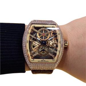 Nuevo Saratoge Vanguard V 45 T SQT Esfera esqueleto hueca dorada Reloj automático para hombres Caja de diamantes de oro rosa Cartera de cuero / caucho Relojes deportivos M3