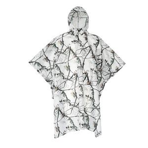Impermeable al aire libre que acampa impermeable impermeable nieve Camo poncho de lluvia chaqueta con capucha del poncho impermeable de camuflaje