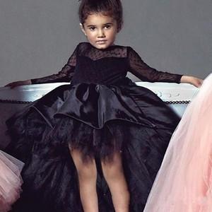 2019 Merhaba Lo Kız Pageant Elbiseler Jewel Boyun Uzun Kollu Dantel Çiçek Kız Elbise Toddlers Gençler Çocuklar Doğum Günü Partisi Cemaat Elbise Giymek