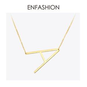 EnFashion Brief Halsketten Alphabet Initial Anhänger Halskette Gold Farbe Edelstahl Halsband Halskette für Frauen Schmuck