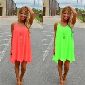 Entspannt Backless Kleider Fluorescence Frauen Chiffon Kleider Fashion Sexy ärmelHohlMaschKleider beiläufig plus Größe